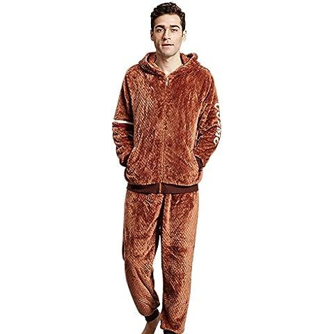 Gruesa cálido en otoñales e invierno pijamas/[Pijamas]/ pijamas de los hombres con cremallera en casa/ con capucha chaqueta pijama y pijamas-A