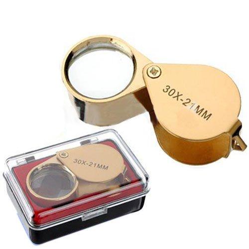 Preisvergleich Produktbild 30x Fach faltbar Juwelier Uhr Lupe Vergrößerungsglas Taschenlupe Magnifier Lesehilfe 21mm Gold