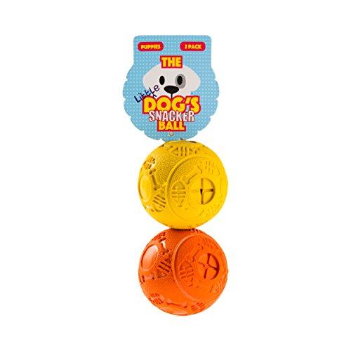 Der Hund 's Balls die Little Dog 's Snacker Dose für Snacks Kugeln, 2Premium Hund behandeln Bälle, hart, klein 5cm Aktivität Gummi kauen Spielzeug, Füllen mit ihren Hund oder Welpen Favorite-Leckerli, die King Kong Stuff It Bälle (Sie Stick Füllen)