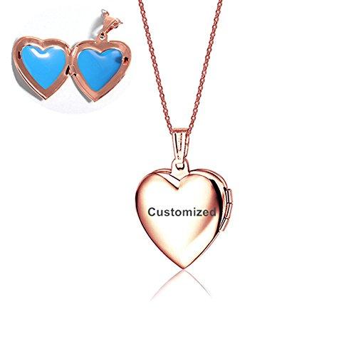 LiFashion LF Edelstahl Rose Gold Plated Personalisierte Name Benutzerdefinierte Herz Medaillon Halskette, die Bilder Openable Foto Anhänger für Mädchen Frauen,kostenlose Gravur - Römischen Kostüm Bilder