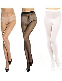 Neska Moda Women's 3 Pair Black, White & Skin Panty Hose Long Comfort Stockings
