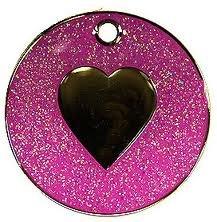 Médaille pour animal domestique à paillettes Motif cœur Rose 25mm S/Acier de suif–envoyez-nous un message avec texte