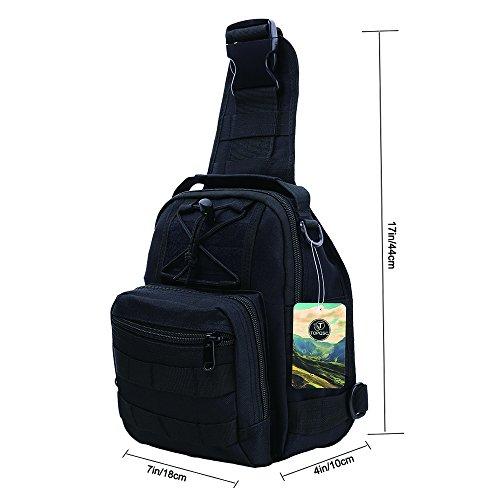 Imagen de bolso de hombro, topqsc bolso táctico del pecho bolsa para hombro crossbody bolsa de equitación y deporte con multiusos,  para camping, trekking, senderismo, rover sling negro  alternativa