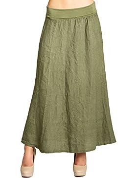 CASPAR Fashion Caspar RO019 Falda Plisada Larga para Mujer/Falda de Lino Italiano para el Verano
