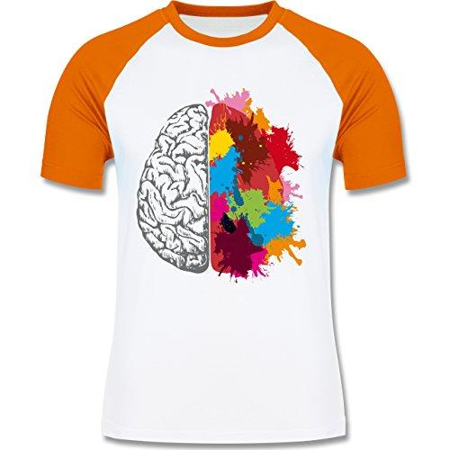 Boheme Look - Gehirnhälften grau & bunt - zweifarbiges Baseballshirt für Männer Weiß/Orange