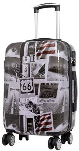Trendyshop365 Hartschalen Handgepäck Koffer mit Motiv Bedruckt - Amerika USA Motorrad - 58 Zentimeter 46 Liter 4 Rollen Städtemotiv - Usa 46