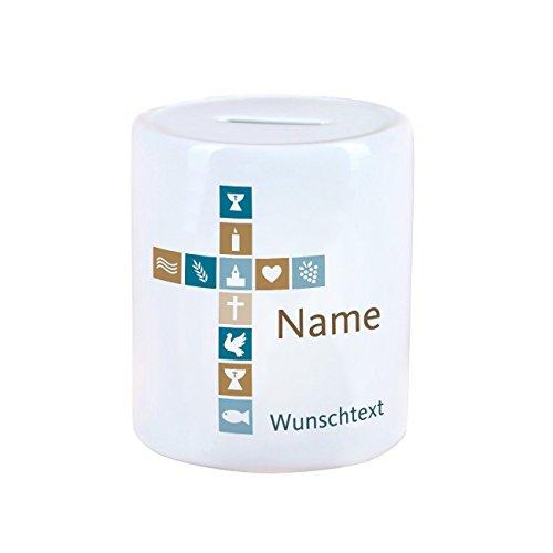 Herz & Heim® Spardose für Taufe/Kommunion/Taufe mit Namen und Wunschtext für Jungen