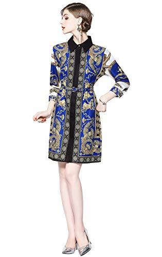 LAI&MENG Damen Hemdkleid mit Blumenmuster und Knopfleiste vorne Casual A-Linie Party Kleid