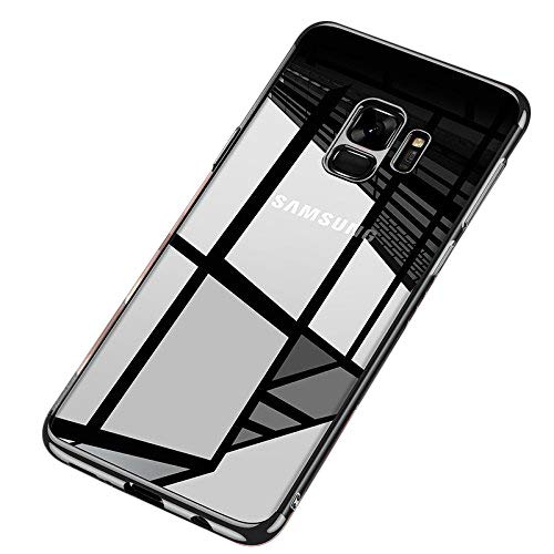 kompatibel mit Galaxy S9 Plus Silikon Hülle,Überzug Farbig Rahmen Hülle Ultra Dünn Crystal Clear Kratzfest Durchsichtige TPU Silikon Schutzhülle Handyhülle Etui for Galaxy S9 Plus,Schwarz