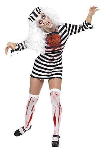 Smiffy's 34131XS Zombie-Sträflingskleid für Damen, XS, schwarz/weiß (Dressing Up Als Eine Frau Für Halloween)