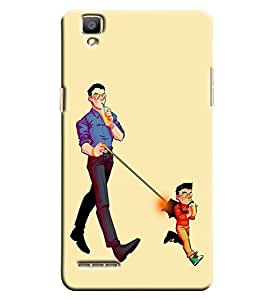 Blue Throat Kid And Dad Drinking Printed Designer Back Cover/ Case For Oppo F1