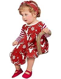 OverDose Neugeborenen Baby Mädchen Hirsch Striped Party Prinzessin Kleid + Stirnband Weihnachten Kleidung Outfits