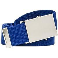 Shenky - Cintura in tessuto colorata, 4 cm x 140 cm, unisex - Colorata Tessuto Blu