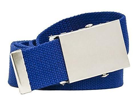 Bunte Stoffgürtel 4cm Breite 140cm Damen Herren Gürtel (Royal Blau) - Colorata Tessuto Blu