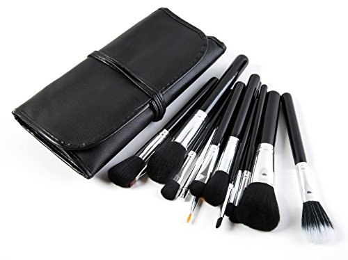 Puna Store Premium Quality Makeup Brush Set, 15 Pieces Set with Black Leather Case