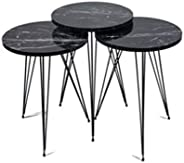 Adria Nesting Table Set of 3 - Marble Textured MDF Wooden Coffee Table with metal legs