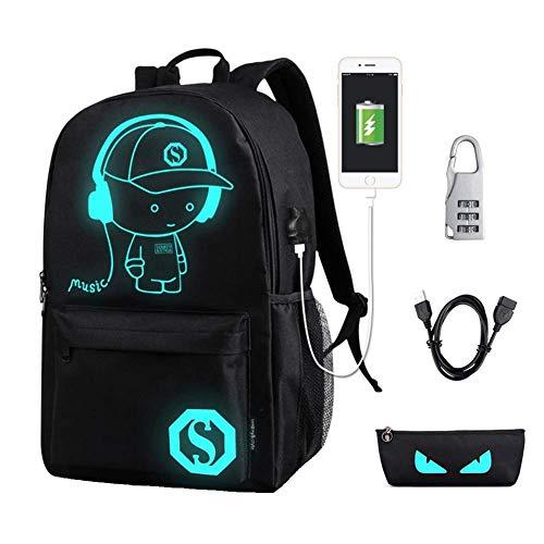 Unisex Anime Cartoon Luminous Rucksack Laptoptasche Rucksack Bookbag mit USB-Ladeanschluss (Schwarz) (Große Schule Bookbags)