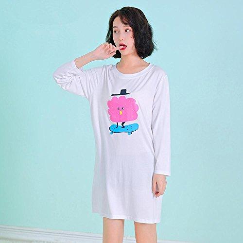 DMMSS Beau Temps - L 'Printemps Et En Automne Coton Vêtements À Manches Pyjamas Manches Femmes White