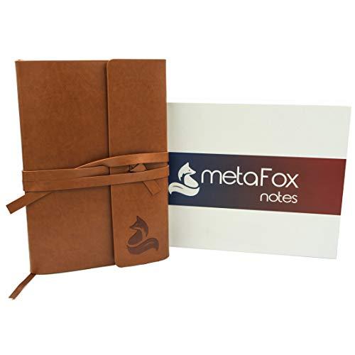 metaFox - Leder Notizbuch A5 Blanko Edles Braun in Geschenk Box als Vintage Tagebuch, Journal,...