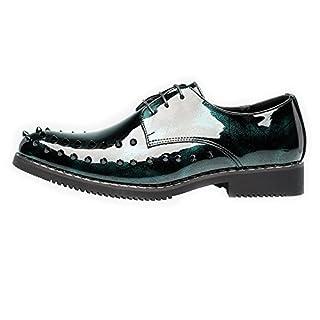 Jingkeke Herren Punk Style Schuhe Glatte PU Leder Prom Loafer Lace-up gefüttert Oxfords mit Nieten Dekor auffällig (Color : Grün, Größe : 39 EU)