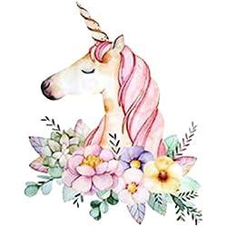 ngshanquzhuyu - Parches de Unicornio con diseño de Flores y Dibujos Animados, Adhesivos térmicos para Transferencia de Ropa