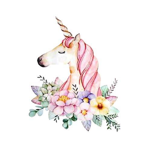 Ngshanquzhuyu - Parches Unicornio diseño Flores Dibujos