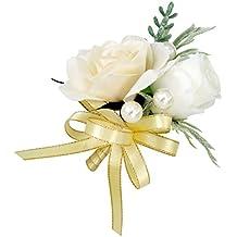 MagiDeal Boutonnière Fleur de Soie Fleur de Mariage Broche Pin pour Costume Robe de Mariage - Champagne