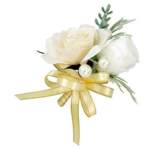 ide Blumen Boutonniere Braut Corsage Ansteckblume Bräutigam Boutonniere Brosche Pin - Champagner, 14 x 10 x 6 cm (Ansteckblume Hochzeit)