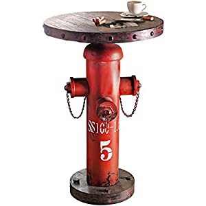 Pureday Beistelltisch Fireplug Hydrant Industrial-Style Shabby Chic Metall/Holz rot ca. 79 cm hoch 50 cm Ø