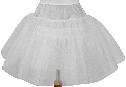 HBH Hamburger Brautmoden 50er,60er Kurzer Reifrock Petticoat mit Rüschen aus Tüll Gr.34 bis 42 weiß (Tüll Rüschen)