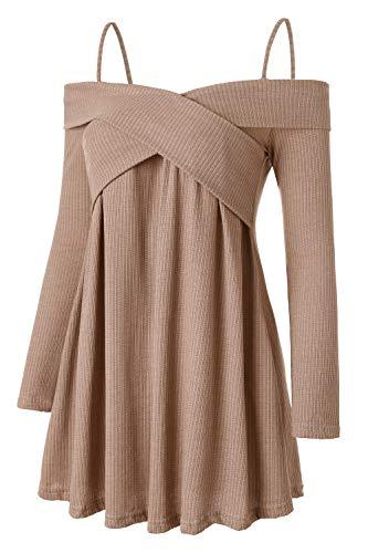 Molliya Camicetta da Donna Maniche Lunghe off Spalla Bluse e Camicie Maglie Manica Lunga da Donna Spalle Scoperte Top Donna T Shirt