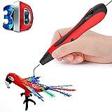 LZX 3D-Druckstift, Sicher Und Einfach Zu Bedienen 3D-Stift Mit LCD-Bildschirm, DIY Für Kinder, 3D-Zeichnungs Stift, 20 Farbige Pla-Filament-Nachfüllung (Rot)