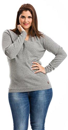 Pull Col V Grande Taille Femme - 100% Cachemire - Citizen Cashmere Gris Clair