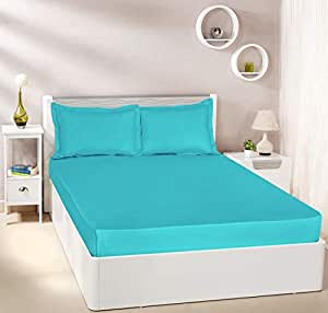 Amazon Brand - Solimo Solid 144 TC 100% Cotton Double Bedsheet with 2 Pillow Covers, Turquoise Blue