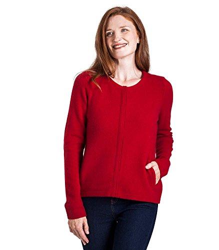 WoolOvers Cardigan-Veste à fermeture éclair - Femme - Laine dAgneau Red
