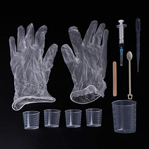 Cuigu 1 Set aus Kunstharz und Epoxidharz, Handarbeit, Handschuhe, Tassen, Mischstab, Spritze, Löffel, Zubehör, Herstellung von Schmuck, Silikonformen, Materialien (Professionelle Silikonform)