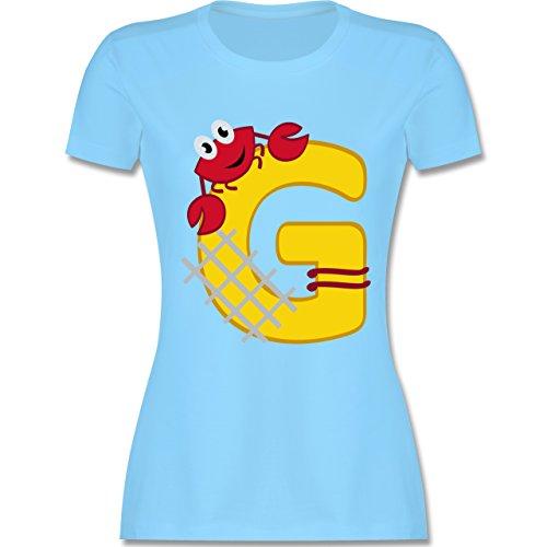 Anfangsbuchstaben - G Schifffahrt - tailliertes Premium T-Shirt mit Rundhalsausschnitt für Damen Hellblau