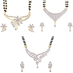 Zeneme Precious American Diamond Gold Plated Mangalsutra combo set of 3 with Chain for Women