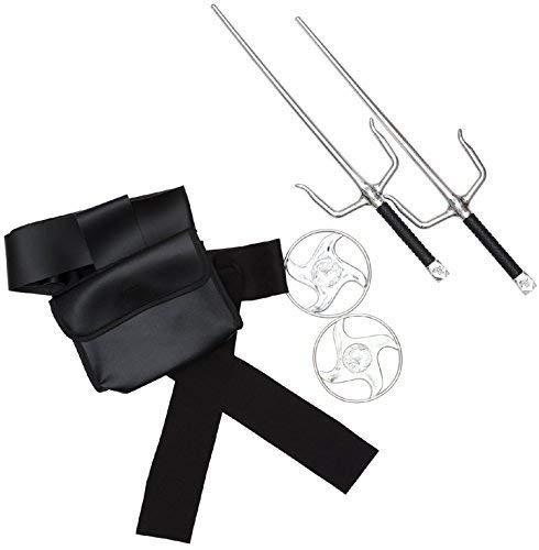 Jungen Mädchen Herren Japanisch Ninja Assassin Dolche Stars Instant Verkleidung aus Aller Welt Kostüm Kleid Outfit Zubehör Waffe Satz (Kostüme Aus Aller Welt)