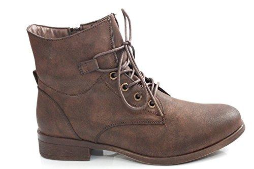 Damen Braun Vintage Stil Militär Winter Stiefelette Größe UK 3–8 Braun