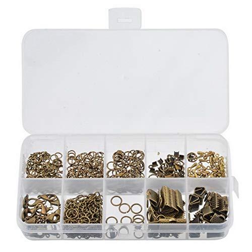YF Lot de 525 anneaux ouverts en alliage de bronze, fermoirs mousqueton, marque-page, pinces à sertir, extrémités de chaîne, extension de bijoux