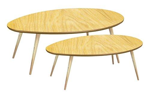 Tosel SARA, Tables Gigogne Ovale Bois Massif, Naturel, 98 x 61 x 39 cm