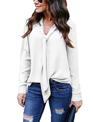 Yidarton donna camicia blusa chiffon manica lunga casual sexy ufficio v-scollo camicetta elegante top (s, bianco)