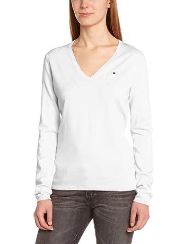Tommy Hilfiger New Ivy - Pull maternité - Uni - Col V - Manches longues - Femme - Blanc (Classic White) - L