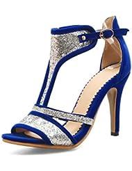 NobS Mujeres Lentejuelas T-Strap Hebilla Sandalias Tacones Altos Tobillo Correa Gran TamañO De Los Zapatos 40-46 , blue , 43 (not returned)
