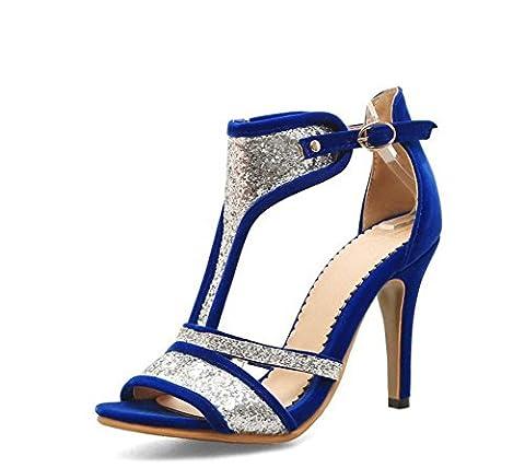 FARALY Chaussures Cheveux En Mousseline De Soie Chaussures Talons Hauts Sandales Talons Hauts Chaussures Grosse Taille 40-46 , blue , 39