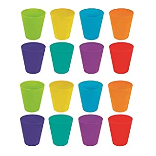 Invero 36 Mega Pack of Children's Kids Durable Plastic Drinking Cups Tumblers 250ml - Bright Multi Coloured Ideal for Kitchen, Outdoor Parties, Picnics, BBQ's, Travels and more