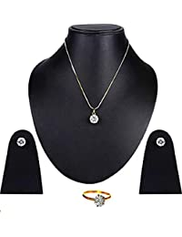 KAAYRA Jewellery Combo Of Designer Diamond Solitaire Pendant Set With Chain, Earrings And Rings For Girls & Women
