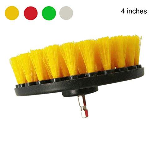Rokoo Reinigung Bürste Elektrische Bohrmaschine Edelstahl für Stoff Sofa Teppich Leder Auto Interiors (Farbe Zufällig) - 4 inches -