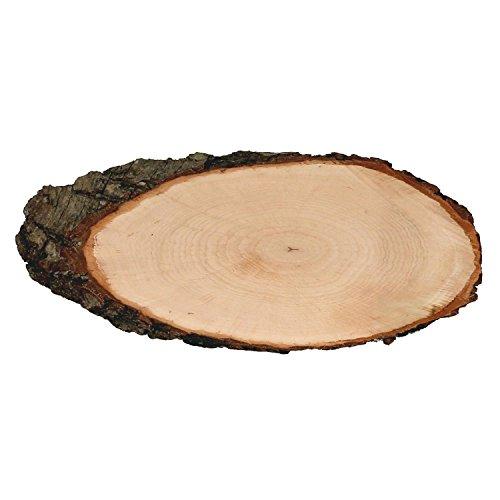 Rindenbrett Esche oval - Baumscheibe geschliffen Holzbrett, Brettgröße:ca. 28 x 13 x 1 cm